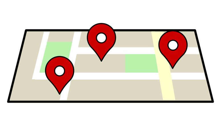 image of map with GPS coordinates