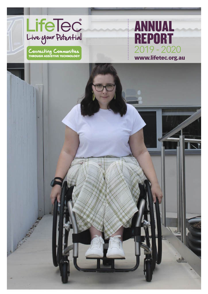 girl in wheelchair on the front cover of LIfeTec's annual report 2020