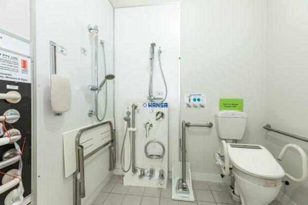 bathing, showering and toileting equipment display
